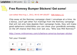 Liberals encourage others to defraud the Romney campaign